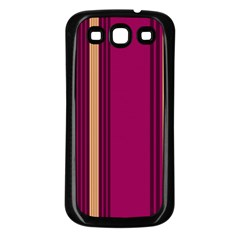 Stripes Background Wallpaper In Purple Maroon And Gold Samsung Galaxy S3 Back Case (black)