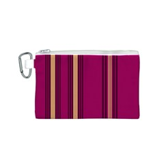 Stripes Background Wallpaper In Purple Maroon And Gold Canvas Cosmetic Bag (s) by Simbadda