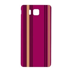 Stripes Background Wallpaper In Purple Maroon And Gold Samsung Galaxy Alpha Hardshell Back Case by Simbadda