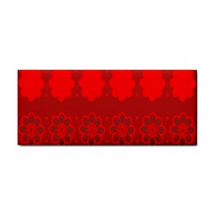 Red Flowers Velvet Flower Pattern Cosmetic Storage Cases by Simbadda