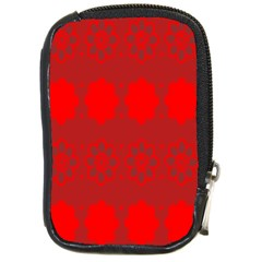 Red Flowers Velvet Flower Pattern Compact Camera Cases by Simbadda