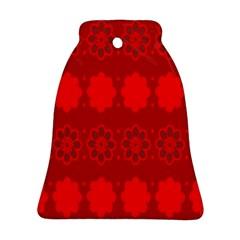 Red Flowers Velvet Flower Pattern Bell Ornament (two Sides) by Simbadda