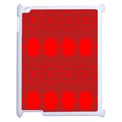Red Flowers Velvet Flower Pattern Apple Ipad 2 Case (white) by Simbadda
