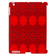 Red Flowers Velvet Flower Pattern Apple Ipad 3/4 Hardshell Case (compatible With Smart Cover) by Simbadda