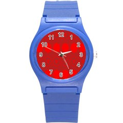 Red Flowers Velvet Flower Pattern Round Plastic Sport Watch (s) by Simbadda