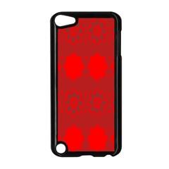 Red Flowers Velvet Flower Pattern Apple Ipod Touch 5 Case (black) by Simbadda