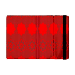 Red Flowers Velvet Flower Pattern Ipad Mini 2 Flip Cases by Simbadda