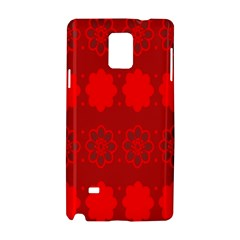 Red Flowers Velvet Flower Pattern Samsung Galaxy Note 4 Hardshell Case by Simbadda