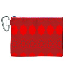 Red Flowers Velvet Flower Pattern Canvas Cosmetic Bag (xl) by Simbadda