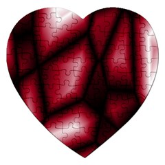 Red Abstract Background Jigsaw Puzzle (heart) by Simbadda