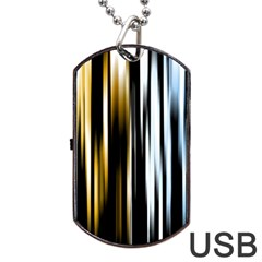Digitally Created Striped Abstract Background Texture Dog Tag Usb Flash (two Sides) by Simbadda