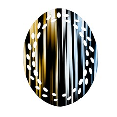 Digitally Created Striped Abstract Background Texture Oval Filigree Ornament (two Sides) by Simbadda