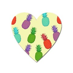Colorful Pineapples Wallpaper Background Heart Magnet by Simbadda
