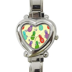 Colorful Pineapples Wallpaper Background Heart Italian Charm Watch by Simbadda