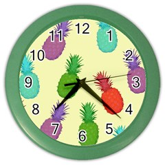 Colorful Pineapples Wallpaper Background Color Wall Clocks by Simbadda