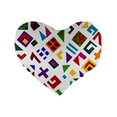 A Colorful Modern Illustration For Lovers Standard 16  Premium Flano Heart Shape Cushions by Simbadda