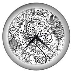 Black Abstract Floral Background Wall Clocks (silver)  by Simbadda