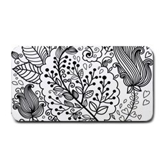 Black Abstract Floral Background Medium Bar Mats by Simbadda