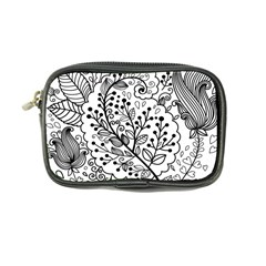 Black Abstract Floral Background Coin Purse by Simbadda