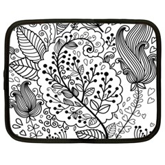 Black Abstract Floral Background Netbook Case (xl)  by Simbadda