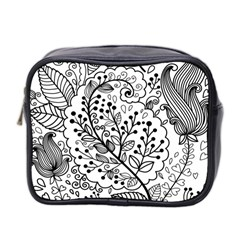 Black Abstract Floral Background Mini Toiletries Bag 2 Side by Simbadda