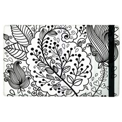 Black Abstract Floral Background Apple Ipad 2 Flip Case by Simbadda
