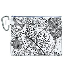 Black Abstract Floral Background Canvas Cosmetic Bag (xl) by Simbadda