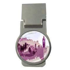 Abstract Painting Edinburgh Capital Of Scotland Money Clips (round)  by Simbadda