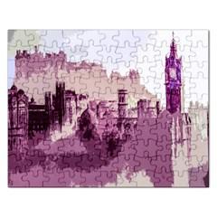 Abstract Painting Edinburgh Capital Of Scotland Rectangular Jigsaw Puzzl by Simbadda