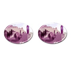 Abstract Painting Edinburgh Capital Of Scotland Cufflinks (oval) by Simbadda