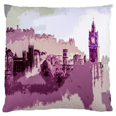 Abstract Painting Edinburgh Capital Of Scotland Large Flano Cushion Case (two Sides) by Simbadda