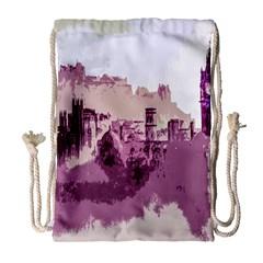 Abstract Painting Edinburgh Capital Of Scotland Drawstring Bag (large) by Simbadda