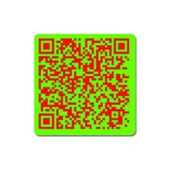 Colorful Qr Code Digital Computer Graphic Square Magnet by Simbadda
