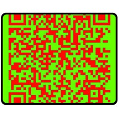 Colorful Qr Code Digital Computer Graphic Double Sided Fleece Blanket (Medium)  by Simbadda