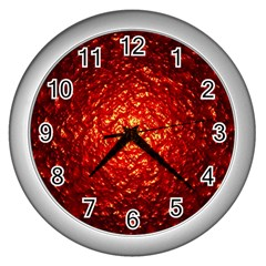 Abstract Red Lava Effect Wall Clocks (silver)  by Simbadda