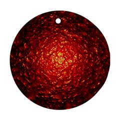 Abstract Red Lava Effect Round Ornament (two Sides) by Simbadda