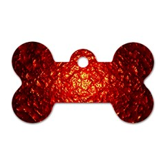 Abstract Red Lava Effect Dog Tag Bone (two Sides)