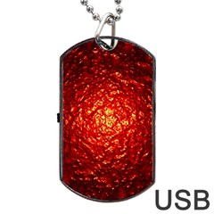 Abstract Red Lava Effect Dog Tag Usb Flash (two Sides) by Simbadda