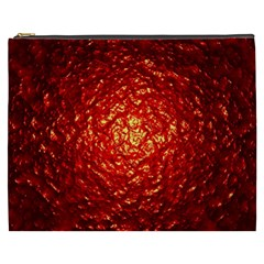Abstract Red Lava Effect Cosmetic Bag (xxxl)  by Simbadda