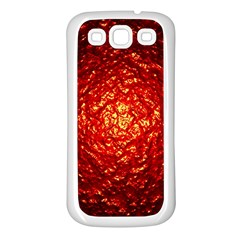 Abstract Red Lava Effect Samsung Galaxy S3 Back Case (white) by Simbadda