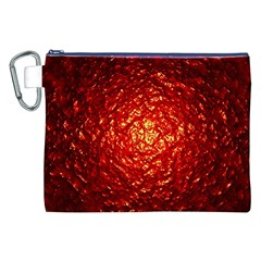 Abstract Red Lava Effect Canvas Cosmetic Bag (xxl) by Simbadda