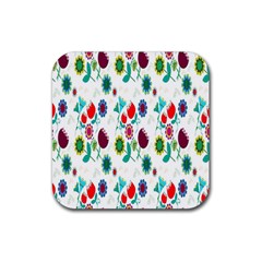 Lindas Flores Colorful Flower Pattern Rubber Coaster (square)  by Simbadda