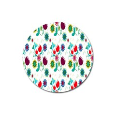Lindas Flores Colorful Flower Pattern Magnet 3  (round) by Simbadda