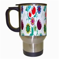 Lindas Flores Colorful Flower Pattern Travel Mugs (white) by Simbadda