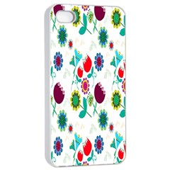 Lindas Flores Colorful Flower Pattern Apple Iphone 4/4s Seamless Case (white) by Simbadda