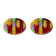 Colorful Hawaiian Lei Flowers Cufflinks (oval) by Simbadda