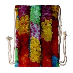 Colorful Hawaiian Lei Flowers Drawstring Bag (large) by Simbadda