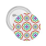 Geometric Circles Seamless Rainbow Colors Geometric Circles Seamless Pattern On White Background 2.25  Buttons
