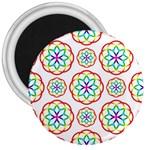 Geometric Circles Seamless Rainbow Colors Geometric Circles Seamless Pattern On White Background 3  Magnets
