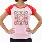 Geometric Circles Seamless Rainbow Colors Geometric Circles Seamless Pattern On White Background Women s Cap Sleeve T-Shirt
